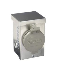 Generac 30 amp 125/250V Aluminum Power Inlet Box with Spring-Loaded Flip Lid  6346